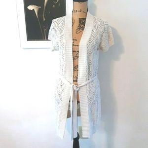 Sonoma Cream Knit Crochet Long Cardigan Sweater